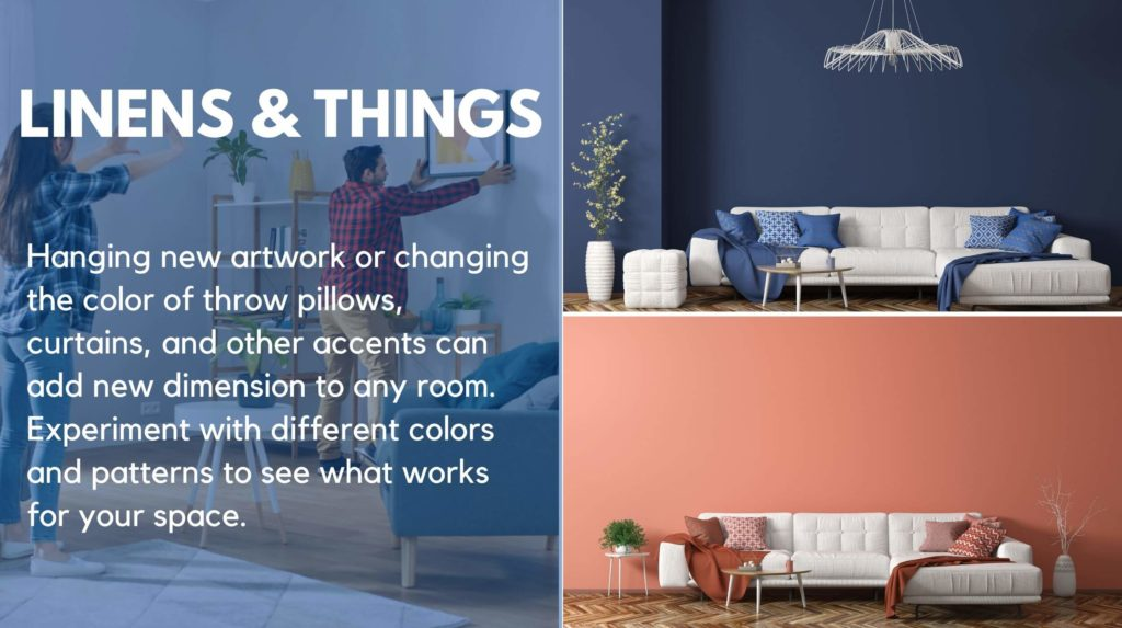 A collage showing the difference in mood using different colors in a room can make: a white couch with orange pillows versus blue pillows, and a couple hanging artwork on their wall.