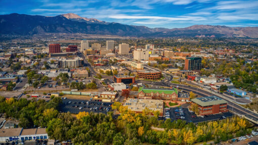 Aerial view of Colorado Springs, CO
