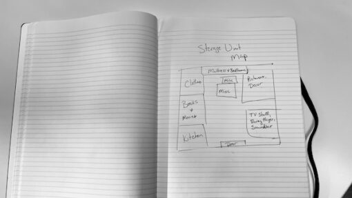 a hand drawn map of a storage unit in a notebook